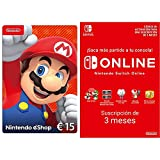 Nintendo eShop Tarjeta de regalo 15€ - (Código de descarga) + Nintendo Switch Online 3 Meses (Código de descarga)