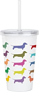 CafePress Colorful Dachshunds Acrylic Double Wall Tumbler Insulated Straw Cup, 20oz Acrylic Double-Wall Tumbler