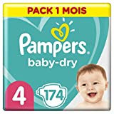 Pampers Baby Dry Couches Taille 4 (9-14 kg) - 174 Couches, Paquet 1 Mois (l'emballage peut Varier)