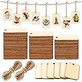 200 Piezas Etiquetas de madera etiquetas, Etiquetas de regalo con cordón de yute, Rodajas...