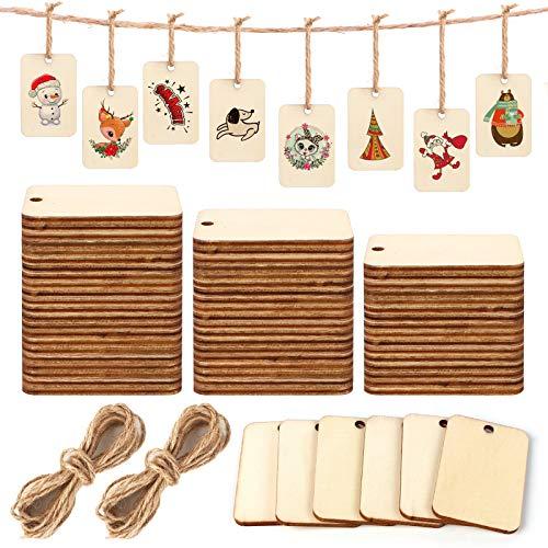 200 Piezas Etiquetas de madera etiquetas, Etiquetas de regalo con cordón de yute, Rodajas de madera natural Etiquetas placas de madera para DIY Artesanía Boda Decoración