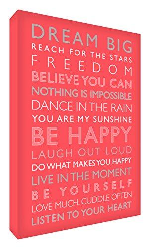 Feel Good Art Gallery verpakt Box canvas, het solide front paneel (91 x 60 x 4 cm, Large, Coral, BE HAPPY uit de Inspiration Collectie)