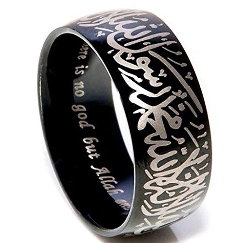 Jude Jewelers - Anillo de Acero Inoxidable islámico, Estilo shahada, 8 mm, Color Negro