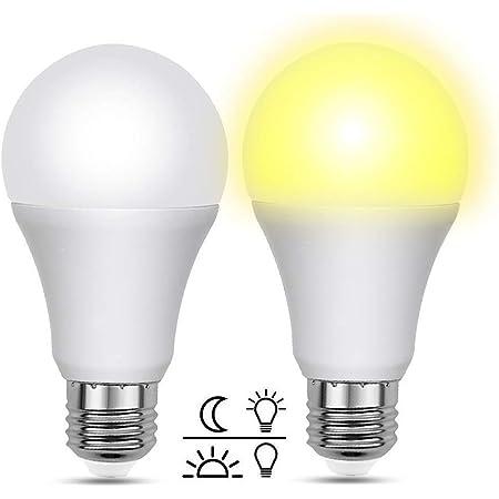 Bombilla Crepuscular LED Exterior 12W, 1000LM, Automatica Bombillas LED E27 con Sensor Crepuscular Equivalente a 100W, Luz Calida 3000K, AC 220V, para Patio, Farola Exterior en Jardin, pack de 2