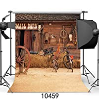 GooEoo 10×10フィートレトロハウスビニール写真の背景カスタマイズされた新生児写真背景納屋のドアスタジオ小道具10459