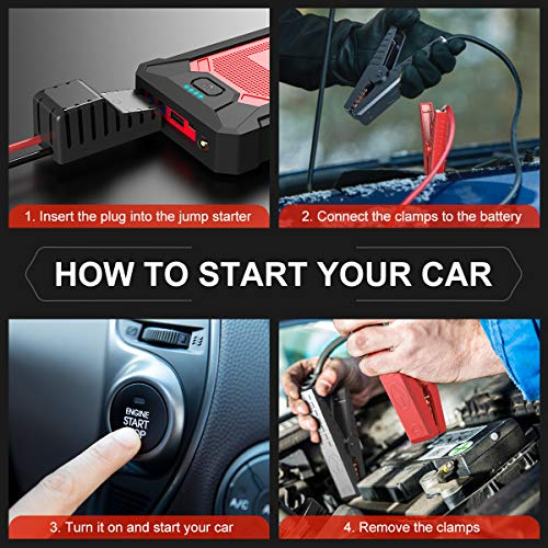 YABER Car Jump Starter 800A Peak 12000mAh Portable Car Battery Starter(up to 5.0L Gas, 4.0L Diesel Engine) Auto Battery…