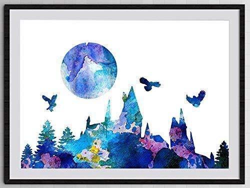 Hogwarts Castle Inspired Watercolor Art Print