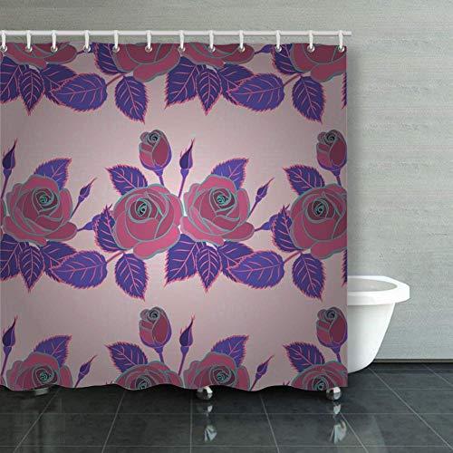 BGNHG Cortina de la Ducha Shower Curtain Vintage Retro Exquisite Patte