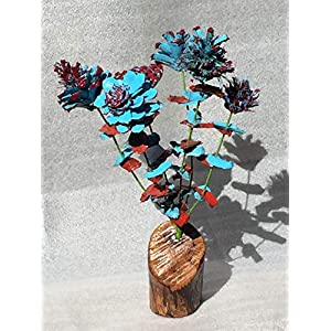 Pinecone flowers, Blue and red flower bouquet with matching leaves and snazzy manzanita base, Rose Zinnia Begonia Daisy Thistle and Chrysanthemum, Blue and red scales or leaves, Pinecone art