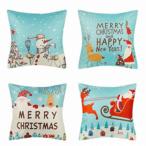 Hommy - Fundas de cojín cuadradas para sofá o dormitorio, 45 x 45 cm, Lino de imitación., Navidad, 45x45 cm,18x18 in