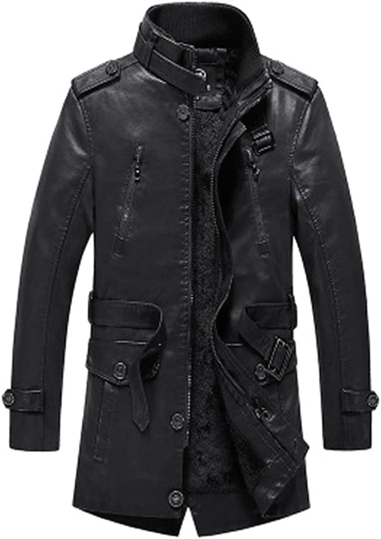 Leather Jacket Men Soft PU Leather Long Jacket Male Business Autumn Winter Fleece Coats