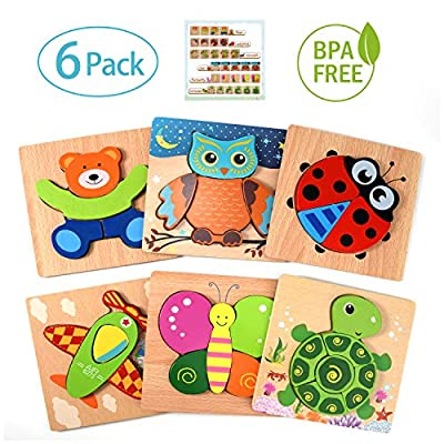 Toddler Toys Wooden Puzzles for Toddlers, 6 Pack Preschool Learning Toys for 1 2 3 Year Old Girls and Boys, Educational Toys for Kids with 5 Animals Patterns and 1 Aircraft Pattern from Aibele