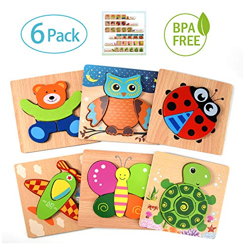 Toddler Toys Wooden Puzzles for Toddlers, 6 Pack Preschool Learning Toys for 1 2 3 Year Old Girls and Boys, Educational Toys for Kids with 5 Animals Patterns and 1 Aircraft Pattern