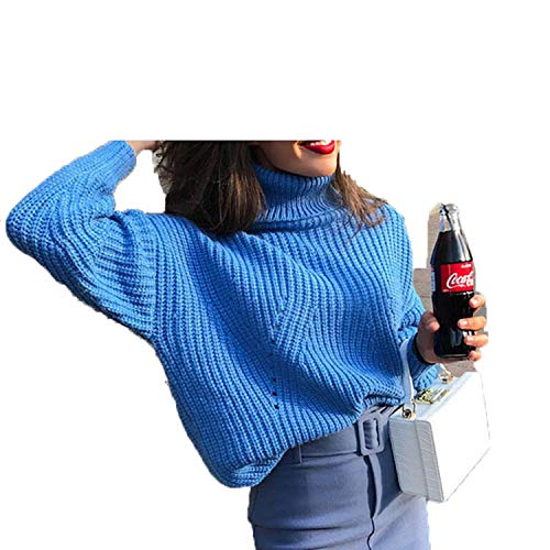 Fashion Turtlenecks Sweaters - Sudadera para Mujer (Manga Corta) Azul L