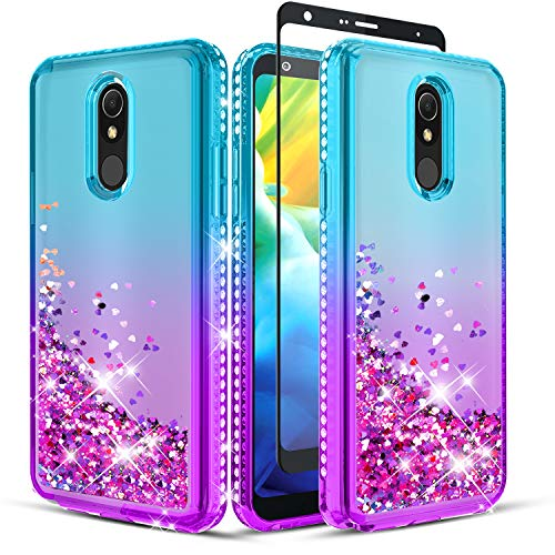 Wallme for LG Stylo 5 Case, LG Stylo 5 Plus Case,LG Stylo 5 +/5V Case with Screen Protector(Full Coverage),Glitter Diamond Falling Hearts Durable Shockproof Phone Case for Girls/Women-Teal/Purple