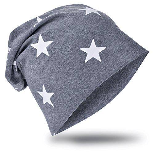 MioboBaby Kinder Jersey Slouch Beanie Long Mütze mit Stern Unisex Baumwolle Trend , SchwarzKleinStern-Anthrazit, 48-53cm Kopfumfang