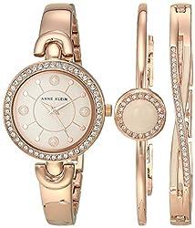 AK/3574BHST Swarovski Crystal Accented Watch and Bracelet Set