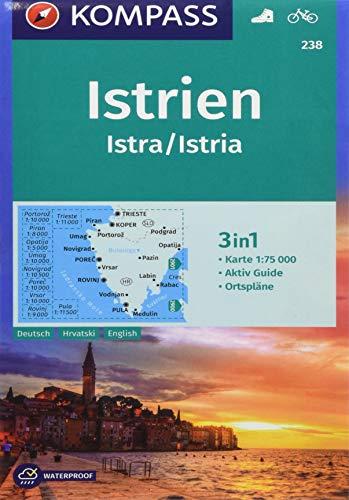 KOMPASS Wanderkarte Istrien, Istra, Istria: 3in1 Wanderkarte 1:75000 mit Aktiv Guide und Ortsplänen....