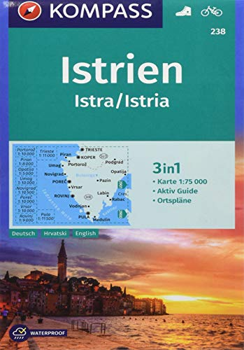 KOMPASS Wanderkarte Istrien, Istra, Istria: 3in1 Wanderkarte 1:75000 mit Aktiv Guide und Ortsplänen. Fahrradfahren. (KOMPASS-Wanderkarten, Band 238)