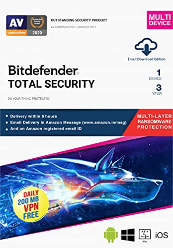 BitDefender Total Security Latest Version (Windows / Mac / Android / iOS) – 1 Device, 3 Years (Email Delivery in 2 hours – No CD)