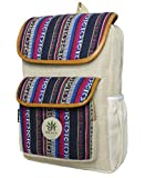 BeHemppy | New 100% Pure Hemp Backpack/Bag/Daypack with Nepal Laptop Sleeve, Unisex (Blue...