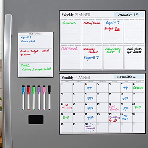 Magnetic Dry Erase Planner Bundle for Fridge: 3 Boards Included - Monthly, Weekly, Daily Calendar Whiteboard 17x12' - 6 Fine Tip Markers and Large Eraser with Magnets, Refrigerator White Board Wall