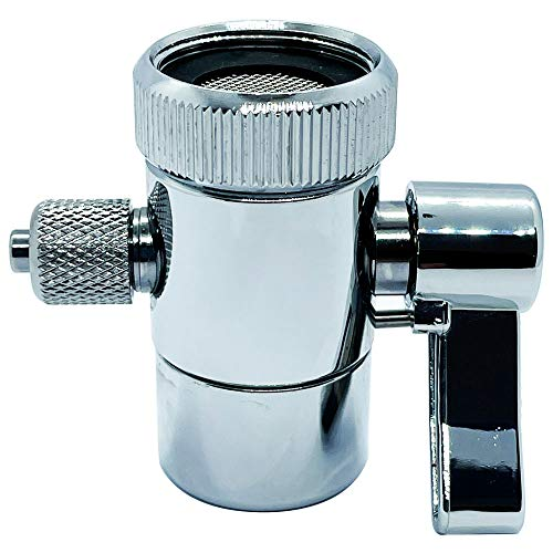ZIGZAGTORM Kitchen Sink Faucet Water Filter Diverter Valve for Push on 1/4 inch Tubing Replacement Part Adapter with M22 X M24 Connector, Brass Body, Chrome Plated Made In Taiwan
