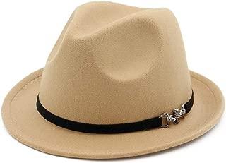 Outdoor Travel Hat Men Women Wool Fedora Hat for Elegant Lady Fascinator Jazz Cap (Color : Khahi, Size : 56-58)