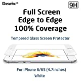 iPhone 6S Screen Protector, iPhone 6 Screen Protector, Daswise® 2015 Full Screen Anti-scratch Tempered Glass Protectors with Curved Edge, Cover Edge-to-Edge, Protect Your 4.7 Inches Silver/Gold/Rose Gold iPhone 6/6S Screens from Drops & Impacts, HD Clear, Bubble-free Shockproof [3D Touch Compatible] (4.7 White)