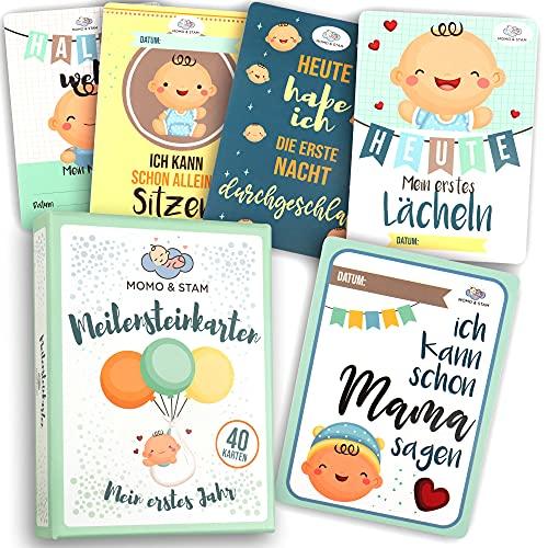 Momo&Stam – Meilensteinkarten Baby [40 Stk.] – geschlechtsneutrale Baby Meilenstein karten - perfektes Geschenk zur Geburt, Babyparty, Schwangerschaft – Monatskarten Baby 1-12 Monate