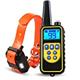 hanwey Dog Training Collar, Anti Bark Collar with 875 Yards Remote, Waterproof Rechargeable Dog Shock Collar with Beep Vibration Static Shock for Small Medium Large Dogs