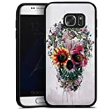 DeinDesign Silikon Hülle kompatibel mit Samsung Galaxy S7 Case schwarz Handyhülle Blume Totenkopf Riza Peker