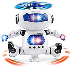 Musical Walking Dancing Robot Toy for Kids, Music Sounds Lights, 360° Body Spinning, Toddlers Bosys Girls Fun Toy Figure