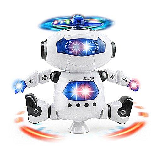 Musical Walking Dancing Robot Toy for Kids, Flashing Lights, 360° Body Spinning, Toddlers Bosys Girls Fun Toy Figure