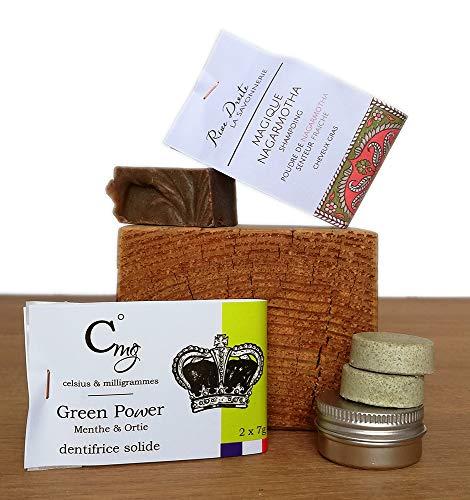 Dentifrice Solide Menthe Poivrée et Shampoing Solide à la poudre de Nagarmotha Cheveux à tendance grasse Bio Fabriqué en France
