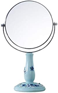 Double-Sided Desktop Mirror HD Makeup Mirror Beauty Vanity Mirror Double-Sided high-Definition Lens Front 1:1 high-Definition Reverse 3 Times Magnification Easy to Clean and Waterproof (Color : S)