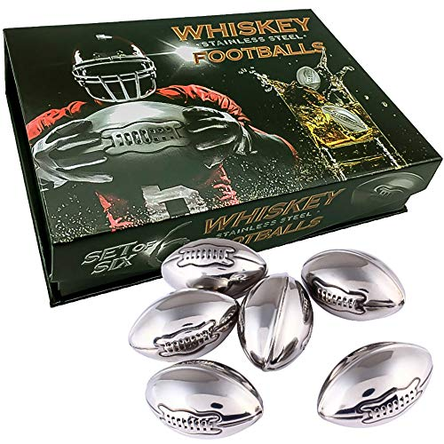 Whisky Stones Stainless Steel Footballs Set of 6 in a Luxury Box. Reusable Chilling Rocks Stone Ice Cubes Beer, Wine Chillers. Cool Birthday Gift Sets for Him Man Father's day Dad or Rugby Sports Fan.