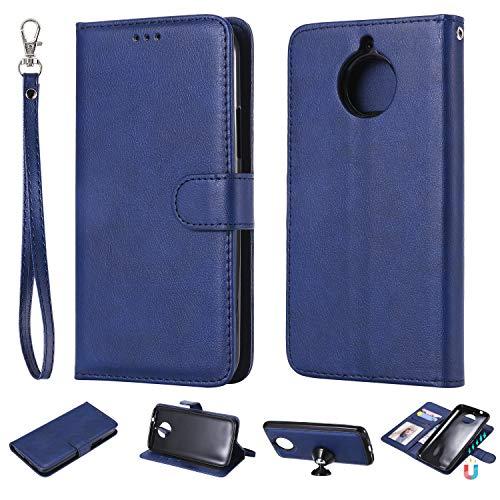 nancencen Kompatibel mit Motorola Moto G5s Plus Handyhülle, Magnetische TPU 2 in 1 Wallet (Karten Slot) Schutzhülle PU Leder Flip Cover Lederhülle Hülle - Blau