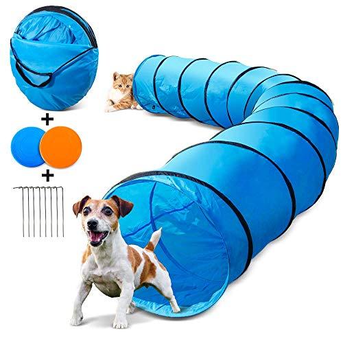 Masthome Hundetunnel 60cm x 505cm, Spielzeug Tunnel für Hunde und Katze mit 2 Fliegende Scheibe und Metalltülle,Outdoor Haustier Spielzeug