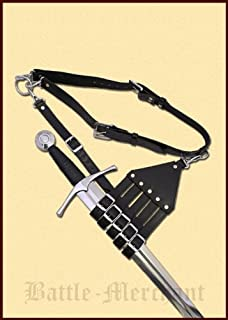 Battle Merchant - Cinturón con funda para sables y espadas, diseño medieval