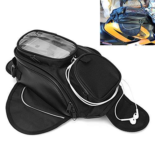 Sac de Réservoir de Moteur étanche Sac de Réservoir de Carburant Noir Sacoche de Selle Magnétique pour Moto Sac d'épaule Sac à Dos Moto