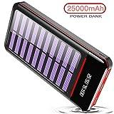 RLERON Powerbank Solar 25000mAh Tragbares Ladegerät Solarladegeräte mit Dual Eingangsports und 3 USB Ausgängen, Digitalanzeige hohe Kapazitäts Externer Akku für Das Tablettes,...