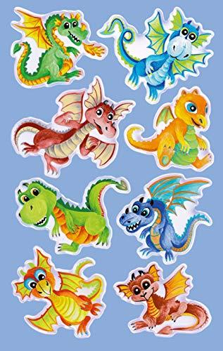 Avery Zweckform 8 Stück Glossy Sticker (Dinosaurier Aufkleber im 3D Effekt, Kindersticker zum Spielen, Basteln Sammeln) Art. 57298