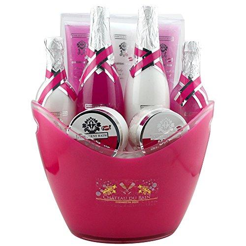 Gloss! Coffret Cadeau Premium - Coffret de Bain Collection Champagne Senteur Lys & Freesia Couleur aléatoire Orange/Rose - 9 Pcs, Coffret Cadeau-Coffret de bain