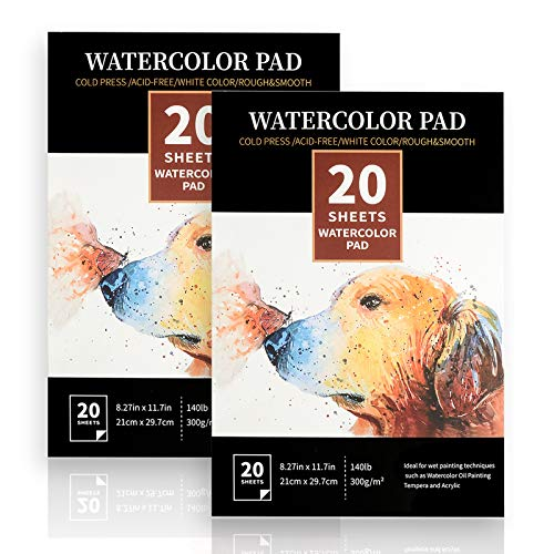 """Homkare Watercolor Pad, 8.27x11.7"""", 40 Sheets (140lb/300gsm), Glue Bound Watercolor Paper, Cold Pressed, Acid Free Watercolor Paper Pad for Watercolor Painting and Mixed Media (Pack of 2)"""