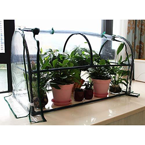 Gzhenh Invernadero Pequeño,Invernadero De Flores Tienda De Cultivo Proteccion Solar A Prueba De Polvo con Cremallera Ventilación Carpa Plegable (Color : Claro, Size : 102x50x57cm)