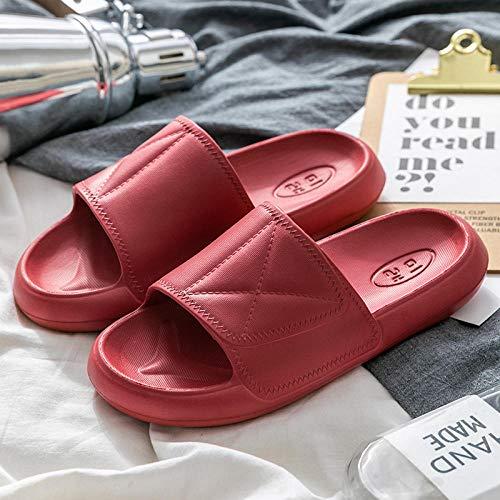 RSVT Baño Sandalias de Punta Descubierta,Zapatillas de casa silenciosas Antideslizantes, Zapatillas de baño de Suela Gruesa-Vino Rojo_40-41,Zapatillas Home Respirables