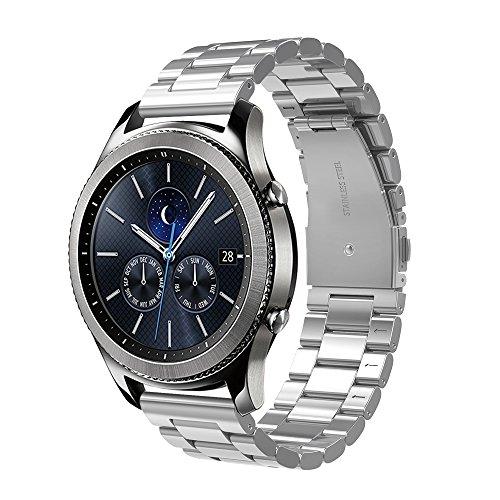 Simpeak Cinturino Compatibile per Samsung Gear S3/S3 Frontier/Galaxy Watch 3 45mm/Classic/Galaxy Watch 46mm Galaxy Watch Active 40mm Banda in Acciaio Inossidabile 22mm,Fibbia di Metallo, Nero