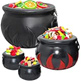 THE TWIDDLERS 4 Black Cauldrons for Saint Patricks Day, Pot of Gold Party Supplies, Candy Chocolate Coins Kettle Party Favor - Witch's Buckets for Halloween Decorations Harry Potter Birthday Theme