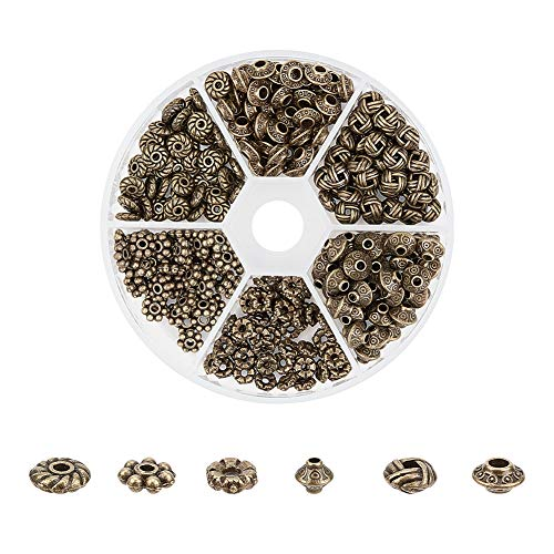 PandaHall Elite 295pcs 6 Formen Tibetischen Legierung Spacer Perlen mit 1~2mm Loch für Armband DIY Schmuckherstellung, antike Bronze